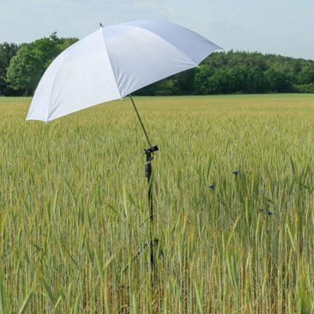 Witte paraplu, swivel, spigot en statief